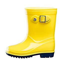 Silky Toes Boys Girls Rain Boots For Kids, Waterproof Toddler Littlebig Kids Classic Wellies (7 M Us Toddler, Yellow)