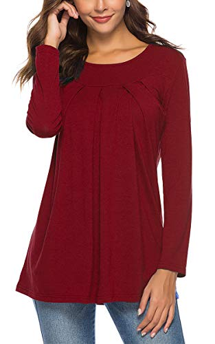 Womens Long Sleeve Tops and Blouses Pleated Front T Shirts Scoop Neck Plain Tunic Christmas Shirts Burgundy S