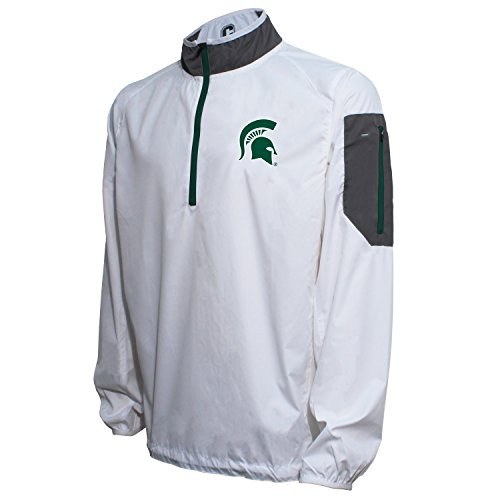 Crable NCAA Michigan State Spartans Men's Lightweight Windbreaker Pullover, White/Dark Green, Large
