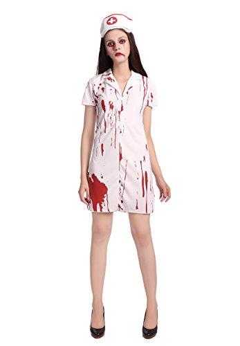 JJ-GOGO Nurse Halloween Costume - Women Sexy Zombie