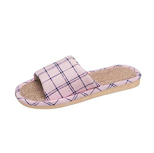 Couple SHANGXIAN Tongs Intérieur Chaussons Chaussures Sandales Décoration 46 Respirant Blue Antidérapant des Casual Treillis en Pink Été 45 gg5wOq