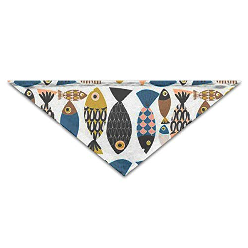OLOSARO Dog Bandana Colorful Fish Pattern Triangle Bibs Scarf Accessories for Dogs Cats Pets Animals -