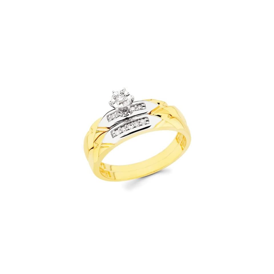 14K Yellow and White 2 Two Tone Gold Women's Round cut Diamond Enagagement Ring and Wedding Band 2 Pieces Bridal Set (0.13 CTW., G H Color, SI Clarity) The World Jewelry Center Jewelry