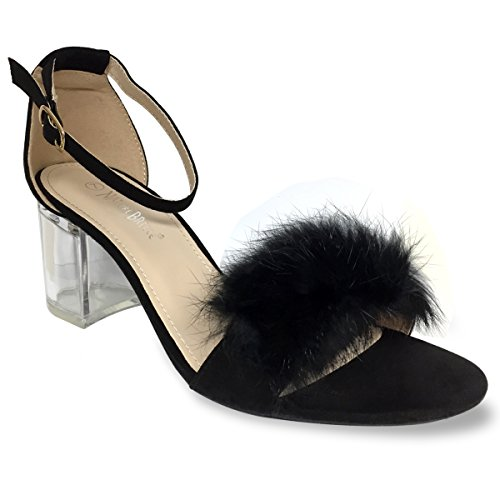 ec8d568823 70%OFF Nature Breeze - Women's Peep Toe Strappy Puff Ball Block Chunky See  Through