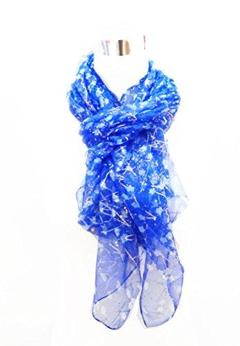 Blue Silk Long Scarf (Chiffon Sheer Gold Decor White Dot Print on Blue - 100% Silk Long Stole 44