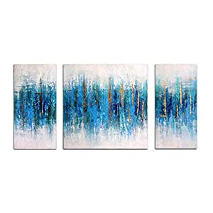 Abstract Seascape Handmade Oil Painting HLJ312 Golden Line Blue Contemporary Canvas Palette Knife Wall Art (Blue B, Inner Framed)
