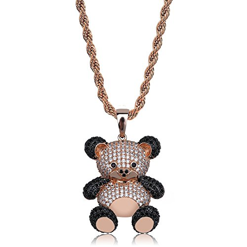 SHINY.U 14K Gold Silver Plated Iced out CZ Simulated Diamond Zirconia Teddy Bear Pendant Necklace Men Women Fashion Jewelry Gifts (Rose Gold)