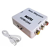 Mini HDMI to AV Composite RCA CVbS Video + Audio Converter for TV PS3 VHS VCR DVD AY26