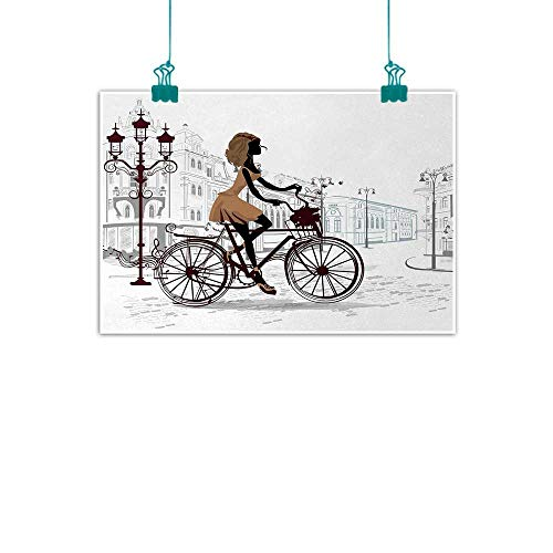 "jiangni Teen Room,Canvas 3D Artwork Young Girl in Paris Streets with Bicycle French Style Display W 36"" x L 32"" Artwork for Hallway Office Home Decor Chestnut and Pale Brown Pearl"