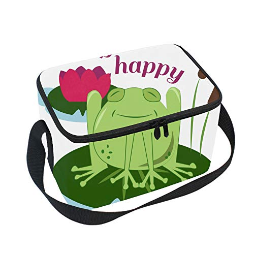 Reusable Lunch Tote Bag Hip Hop Happy Frog Food Container with Shoulder Straps