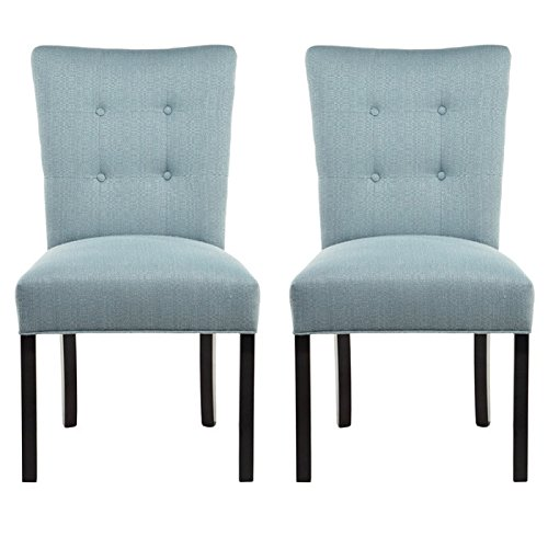 Sole Designs La Mode Collection Fanback Dining Chair, 4 Button Stitched  Side Chair, Bay Blue (Set Of 2)