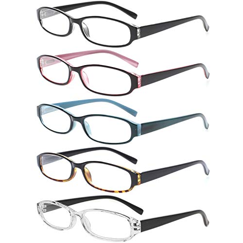 Reading Glasses 5 Pairs Spring Hinge Comfort Fashion Quality Readers for Men and Women (5 Pack Mix Color, 2.00) (Oval Spring Hinge)