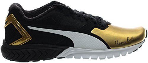 PUMA Men's Ignite Dual Bolt Running Shoe, Puma Black/Gold, 9.5 M US