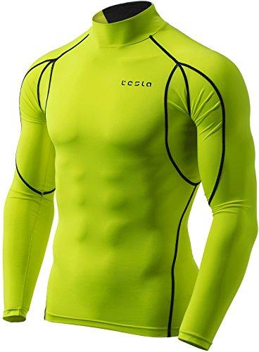 185a489fd6 TSLA Men s Mock Long-Sleeved T-Shirt Cool Dry Compression Baselayer MUT12  T11
