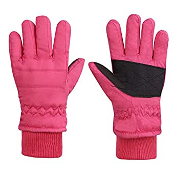 Baby Toddler Waterproof Gloves Thermal Winter Outdoor Play Snow Ski Child Fleece Plush Lined Insulated Glove 1-3 Years Old Girls Xmas Holiday Season Birthday Present Pink