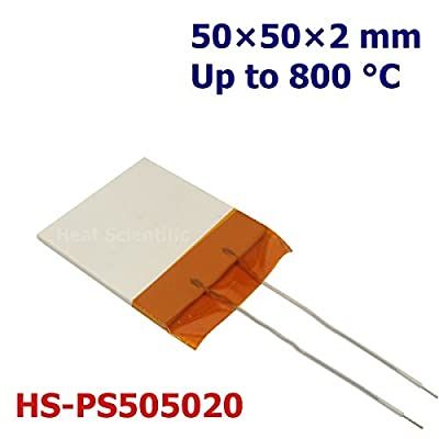 Heat Scientific MCH Metal Ceramic Heater | 50x50x2mm | Pack of 2 | up to 800 °C | Flat Heating Plate | Resistive Heater