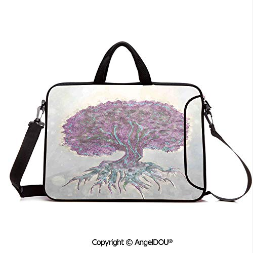 AngelDOU Customized Neoprene Printed Laptop Bag Notebook Handbag Watercolors Style Print of Old Plant with Bokeh Lights Majestic Roots Nature Compatible with mac air mi pro/Lenovo/asus/acer Grey