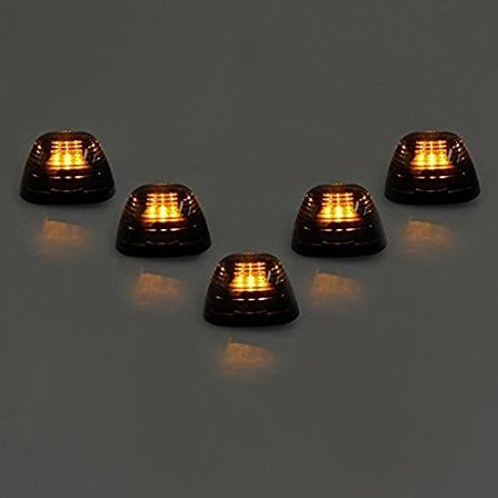 B01MFBBXJO 5pcs Amber Lens Amber LED Cab Roof Marker Lights, KOMAS Roof Top Lamp Clearance Running Light Replacement for Truck SUV Ford 1999-2016 E/F (Smoked Lens & Amber LED) 71iZzoL2BkZL