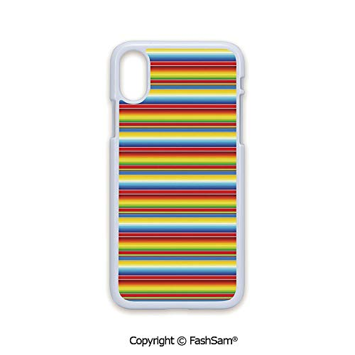 Phone Case Compatible with iPhone X Black Edge Rainbow Colored Lines Geometrical Mexican Blanket Pattern Latin American Culture Decorative 2D Print Hard Plastic Phone Case ()