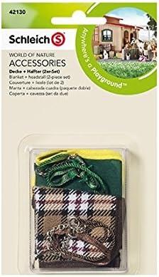 Schleich - Manta y cabezada cuadra, Paquete Doble, Set de Accesorios (42130)
