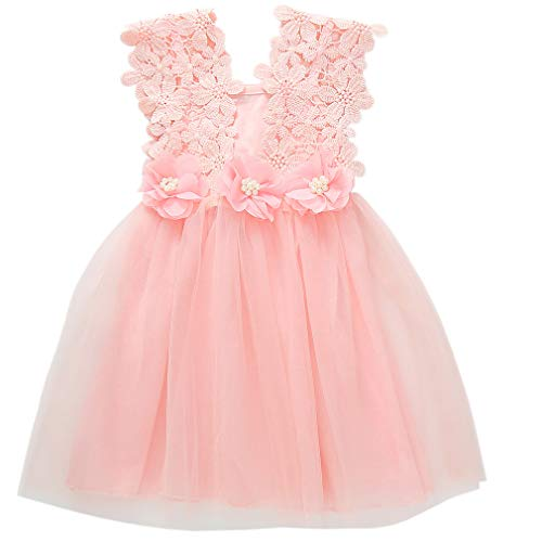 Niyage Toddler Girls Flower Crochet Lace Straps Tutu Dress with Tulle Skirt 3T Pink]()