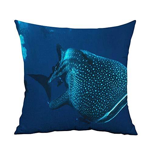 Estivation Pillowcases King Size Tiburon ballena W23.8 x L23.8,Throw Pillows Farmhouse