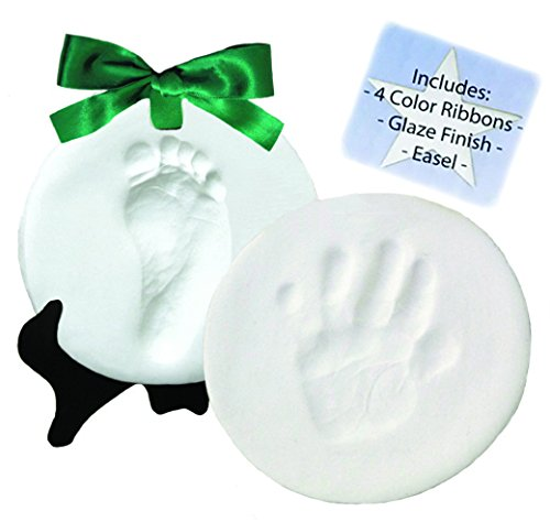 Proud Baby DELUXE Clay Hand Print & Footprint Keepsake Kit - Dries Stone Hard - No Bake - Air Drying (Makes 2 Plaques)