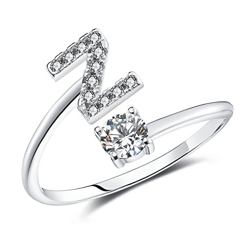 FAURORA Rings for Women Initial Ring Letter Ring A-Z Adjustable Silver Rings Women Rings Size 6-11 Gift Set Z ()