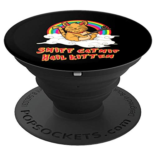 Sniff Catnip Hail Kitten Death Metal Cat Satan Rock Music PopSockets Grip and Stand for Phones and Tablets