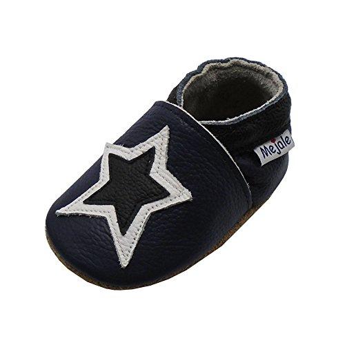 Mejale Weiche Sohle Leder Babyschuhe Lauflernschuhe Krabbelschuhe Kleinkind Kinderschuhe Hausschuhe Karikatur Sterne 0-3 Jahre Dunkelblau, Schwarz Sterne