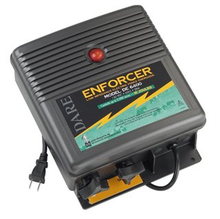 Dare Products Enforcer DE6400 Low Impedance Electric Fence Energizer, 16 Joules Output, Controls Upto 2,000 Acres Overgrown Fence, All Weather, Built-In Lightning Protection, 120VDC