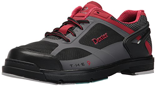 Dexter Men's The 9 HT Bowling Shoes, Black/Red/Grey, Size 9.5