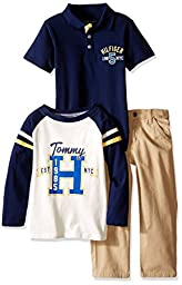 Tommy Hilfiger Little Boys\' Long Lsleeve Top, Solid Polo and Pants Set, Navy, 5