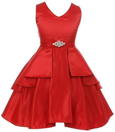 Red Dress Brooch - Big Girls' Solid Dull Satin Overlays Brooch Sash V Neck Flower Girl Dress Red 16 (G35G71)