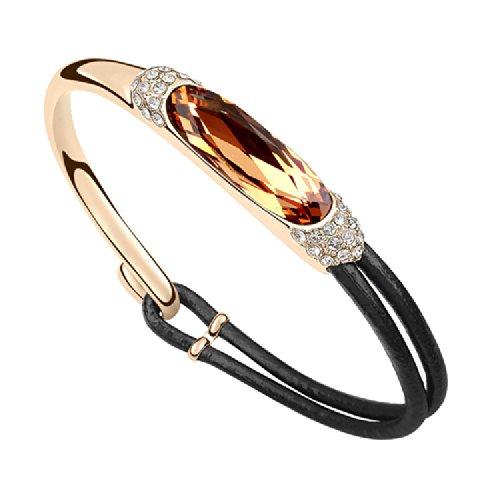 Royarebar Elegant Cosmetics Bracelet Swarovski Elements Crystal Bangle Extravagance Europe and America Retro Leather Diamond Bracelet(Light Yellow Crystal,Champagne Gold) (Bracelet Diamonds Sparkling)