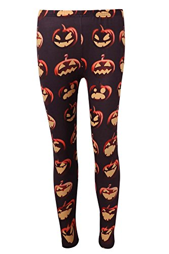 DREAGAL Teenagers Halloween Costume Pumpkin And Ugly Face Print Leggings Small -