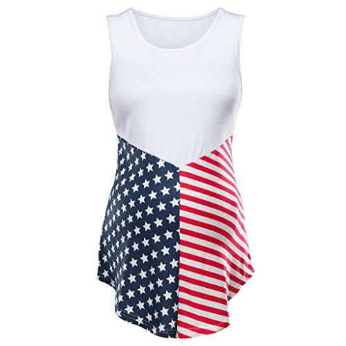 4th of July Womens Pregnant Maternity Sleeveless Breathable Blouse Ladies Summer American Flag Printing Loose Tops Clothes Vest (White, L)