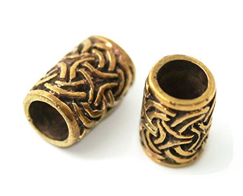 (Bronze Norse Viking Celtic Beard Beads Rings, Dwarven Dreadlock Pirate Medieval Hair Beads, Pagan Jewelry)