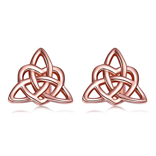 Sterling Silver Rose Gold Plated Good Luck Irish Celtic Knot Triangle Lover Heart Shaped Earring -