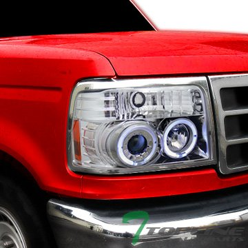 F150 Chrome Rims (Topline Autopart Chrome 2Halo Rims Projector Headlights Signal Parking 1Pc 92-96 Ford F150/F250)