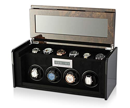 4+6 Watch Winder Box for Self-Winding up to 4 Automatic Watches with LED Case Backlight, LCD Touchscreen Display and 6 Watches Storage Compartment for All Watch Brands and All Watch Sizes (Dark Burl)