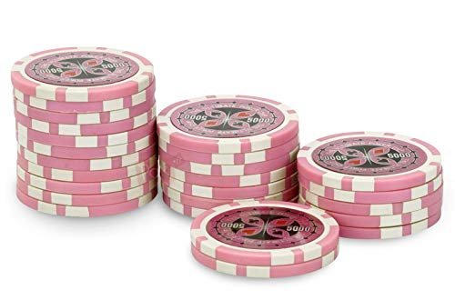 Rouleau 25 jetons Ultimate Poker Chips 5000 rose