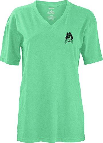 e Apparel NCAA East Carolina Pirates Smitten V-Neck Short Sleeve T-Shirt, Large, Island Reef (East Carolina Logo Square)
