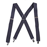"HDE Men's X-Back Clip Suspenders Adjustable Elastic Shoulder Strap - 1.5"" Wide"
