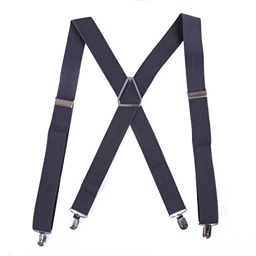 HDE Men's X-Back Clip Suspenders Adjustable Elastic Shoulder Strap - 1.5