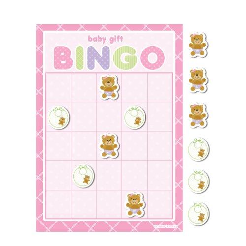 Creative Converting Baby Shower Teddy Baby Pink 10 Count Bingo Game