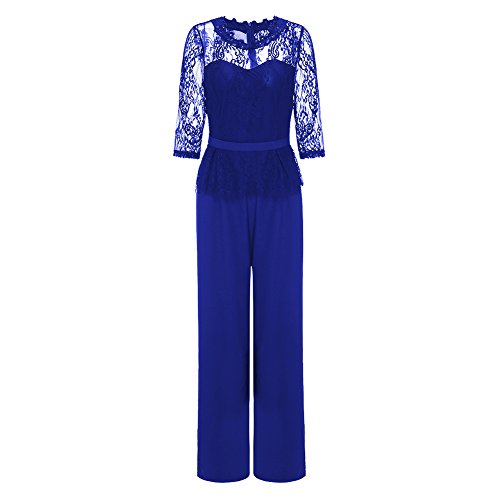 Sumtory Womens O Neck High Waisted Wide Leg Jumpsuit Pants with Back Zipper Blue M by Sumtory