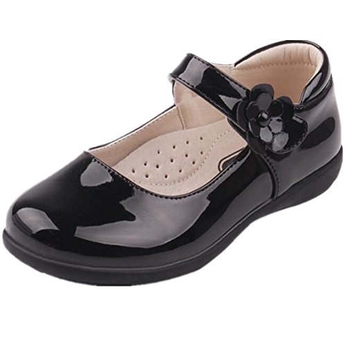 Bumud Kids Girl's School Uniform Mary Jane Flat Shoes(Toddler/Little Kid) (2 M US Little Kid, Black)