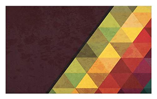 Lunarable Abstract Doormat, Geometrical Triangular Polygons with Aged Grungy Look Stained Glass Style Mosaic, Decorative Polyester Floor Mat with Non-Skid Backing, 30 W X 18 L inches, ()