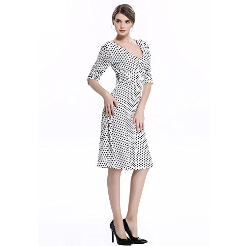Cocktail Dress 3/4 Sleeve Ruched Polka Dot High Waist Classy V-Neck Casual Vintage Swing Dresses 1950s
